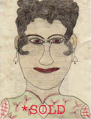 #1: Woman in Patterned Dress w/ Earings on Prison Mimeo (**SOLD**)